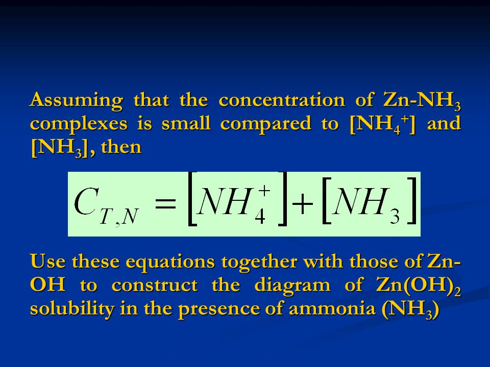 Assuming that the concentration of Zn-NH3 complexes is small compared to [NH4+] and [NH3], then